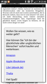 Screenshot Leseproben-Webansicht