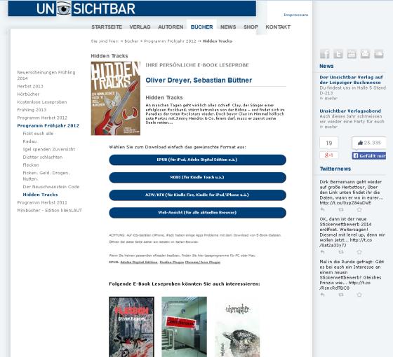 Leseproben-Landingpages lassen sich jetzt einfach und schnell in andere Webseiten einbetten - hier ein Beispiel des Unsichtbar Verlags.